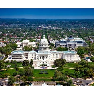 Aerial shot of the Capitol.