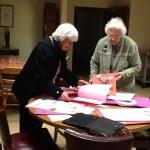 Sister Alice Marie Lyon and Sister Florita Rodman, enjoying Valentines from Sacred Heart School students