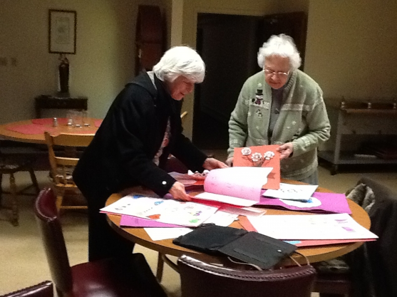 Sister Alice Marie Lyon and Sister Florita Rodman, enjoying Valentines from Sacred Heart School students